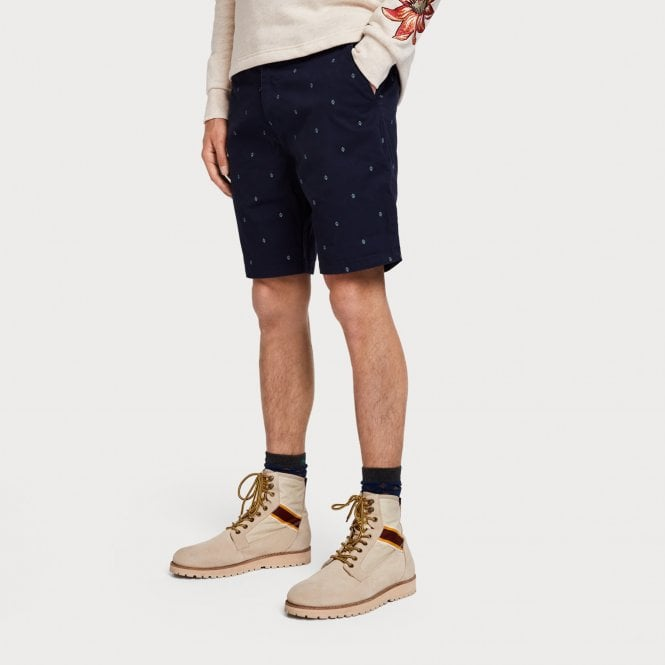 Scotch & Soda - Printed Chino Shorts - Navy