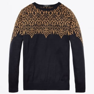 - Pullover With Pattern - Navy