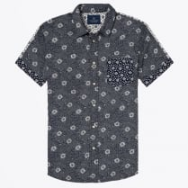 - Short Sleeve Printed Shirt - Navy