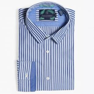- Slim Fit Bar Stripe Shirt - Blue