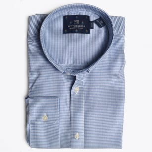 - Stitch Down Collar Shirt - Blue