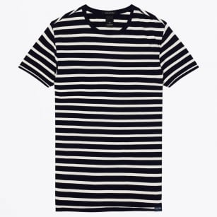 - Stripe Classic Crew Neck Tee - Dark Navy