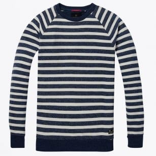 - Striped Crew Neck Sweater - Blue