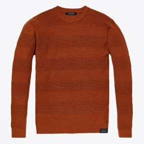 - Striped Pullover Knit - Rust