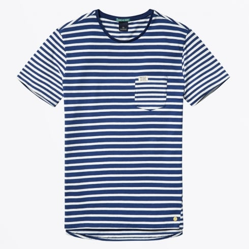 Scotch & Soda - Striped Tee With Contrast Pocket - Combo A - Navy