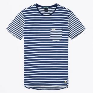 - Striped Tee With Contrast Pocket - Combo A - Navy