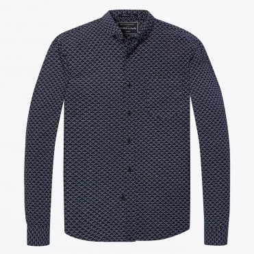 - Structured Diamond Print Shirt - Navy