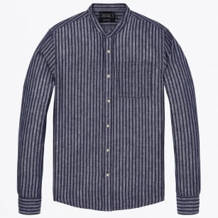 - Structured Striped Shirt - Navy