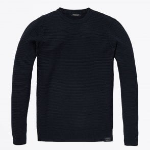 - Textured Knit Pullover - Navy