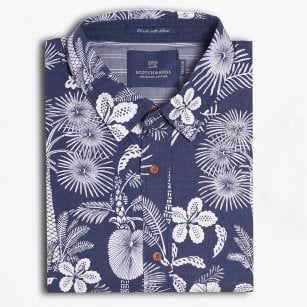 - Tropical Floral Print Shirt - Indigo Blue