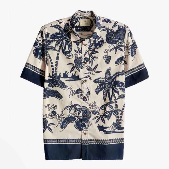 Scotch & Soda - Tropical Print Shirt - Beige/Navy