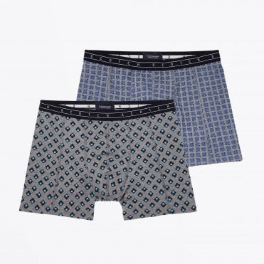 - Two-Pack Printed Boxer Briefs - Blue/Grey