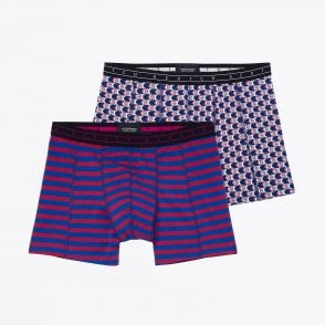 - Two-Pack Printed Boxer Briefs - Blue/Red