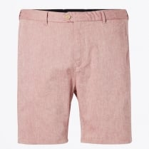 - Two Tone Chino Shorts - Medium Length - Earth Red