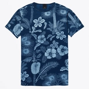 - Washed Crew Neck Palm Print Tee - Indigo