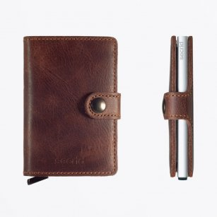 Mini Wallet - Vintage Brown Leather