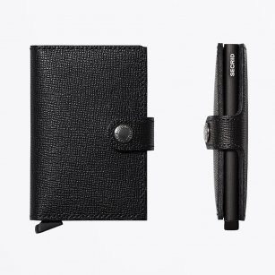| Miniwallet : Crisple Black Leather