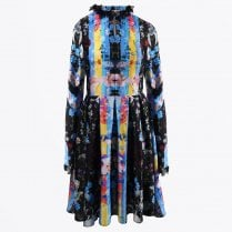 - Printed Shirt Dress - Black