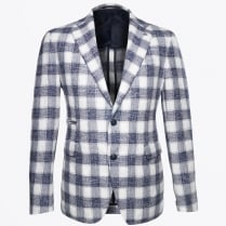 - Big Check Pattern Blazer - Blue