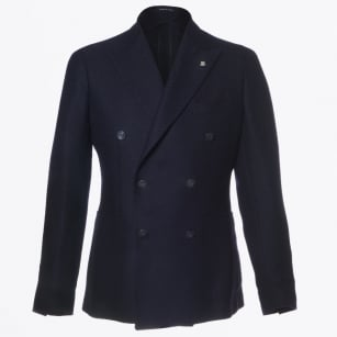 - Double Breast Button Detail Jacket - Navy