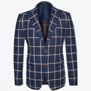 - Tan Check Blazer - Navy