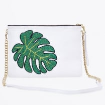 - Colima White Monstera Leaf Bag