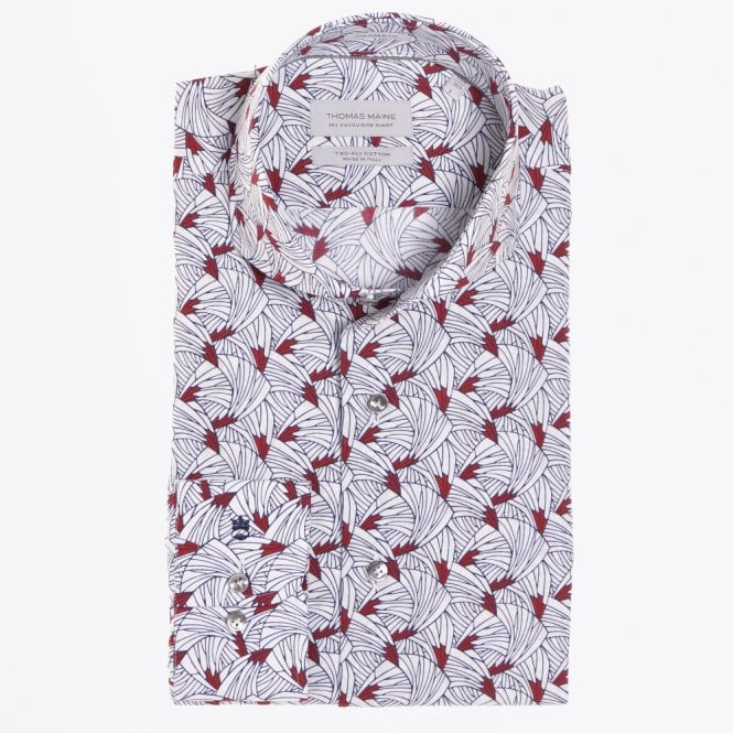 Thomas Maine - Abstract Print Shirt - White