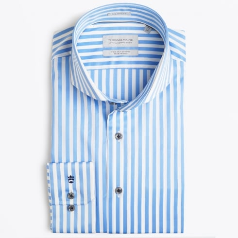 Thomas Maine - Bari Cutaway Bold Stripe - Blue
