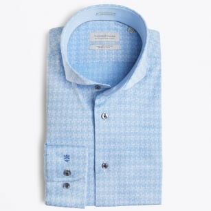 | Bari Cutaway - Dog Tooth Shirt - Blue