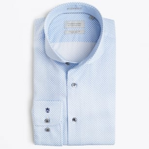 | Bari Cutaway - Dot Dress Shirt - Blue