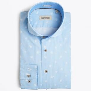   Bari Cutaway - Flower Print Shirt - Blue