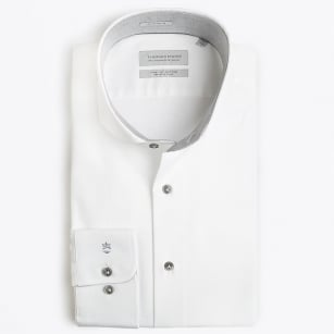 | Bari Cutaway -  Patterned Trim Shirt - White