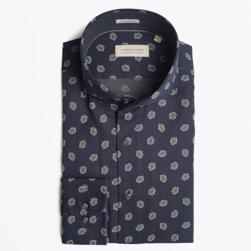 Thomas Maine - Bari Flower Cutaway Shirt - Navy