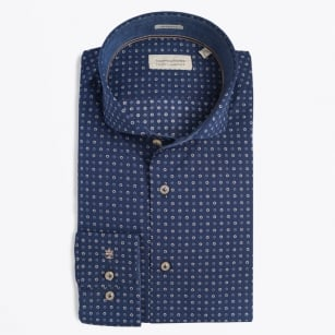| Bari Flower Print Shirt - Navy