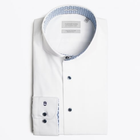 Thomas Maine - Bari Insert Contrast Shirt - White