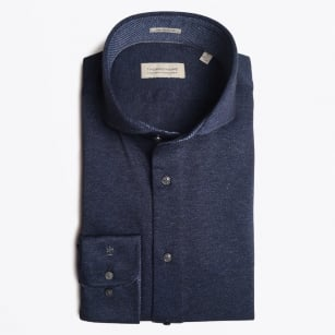 - Bari Stretch Weave Cutaway Shirt - Navy