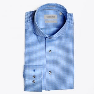 - Bari Swirl Blue Gingham Shirt