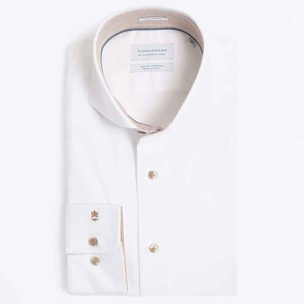 Beige Insert Cutaway Shirt Mens Designer Shirts Thomas Maine
