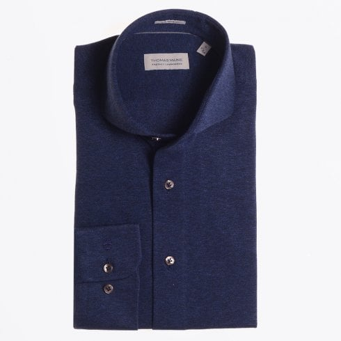 Thomas Maine - Cotton Stretch Weave Shirt - Navy