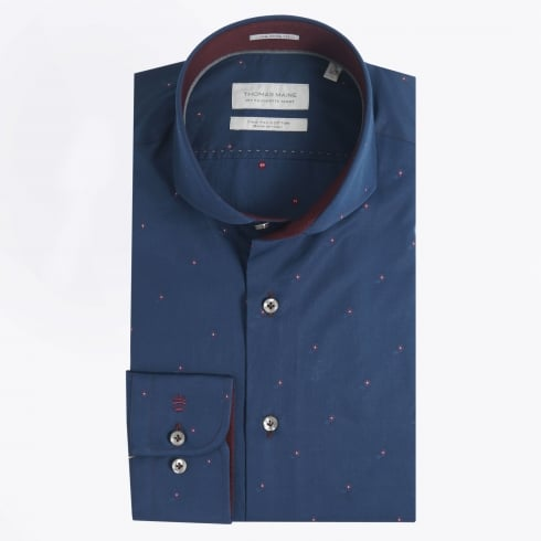 Thomas Maine - Diamond Detail Shirt - Navy