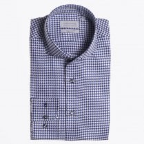- Dogtooth Printed Cotton Shirt - Dark Blue