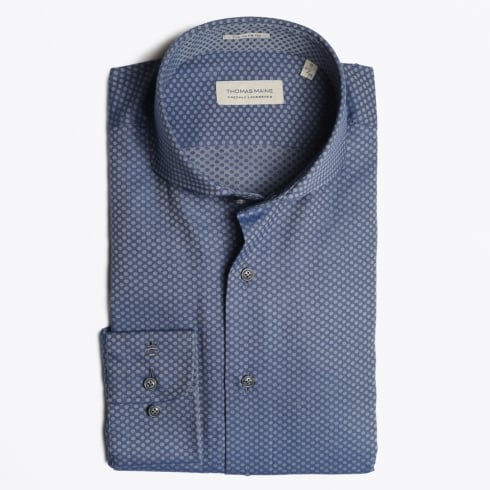 Thomas Maine - Egyptian Cotton Dot Print Shirt - Navy