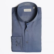 - Egyptian Cotton Dot Print Shirt - Navy