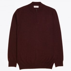 - Half Zip Knit Sweater - Burgundy