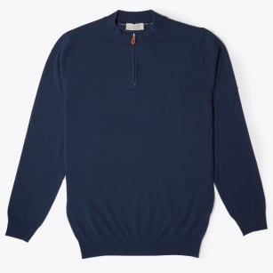 - Half Zip Knit Sweater - Navy