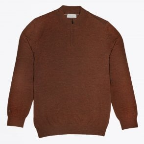 - Half Zip Knit Sweater - Rust