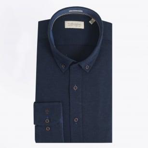   Herringbone Button Down Shirt - Navy