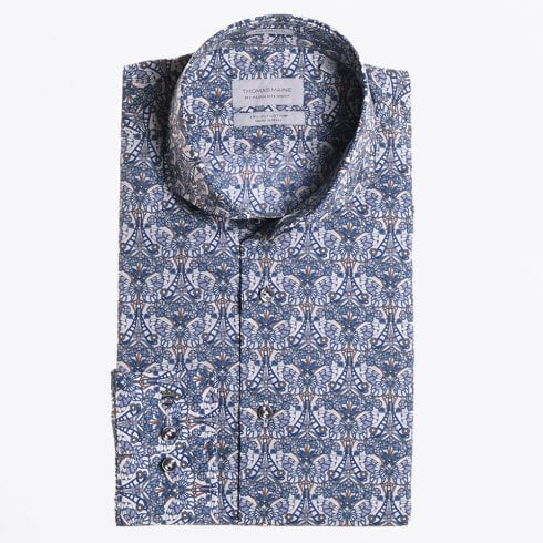 Thomas Maine - Liberty Butterfly Printed Shirt - Petrol
