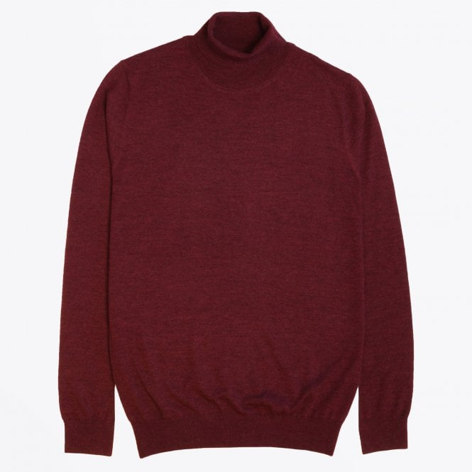 Thomas Maine - Merino Roll-neck Knit - Burgundy