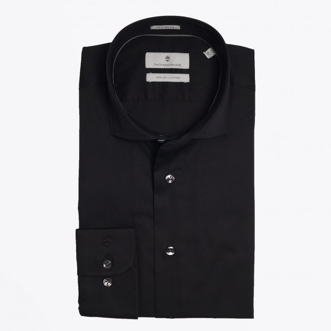 Thomas Maine - Modern Kent Cotton Shirt - Black